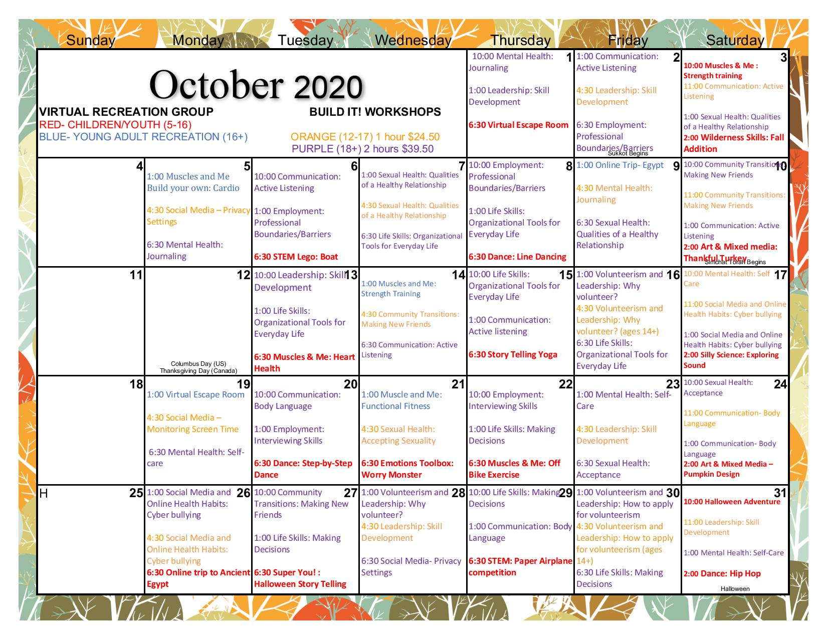 Calendar of virtual events for the month of October, at Recreational Respite
