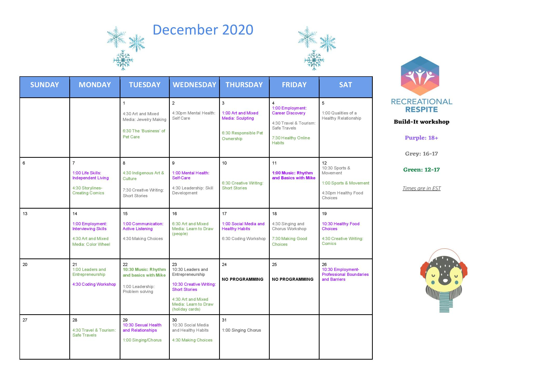 Calendar of December virtual activity events, available online