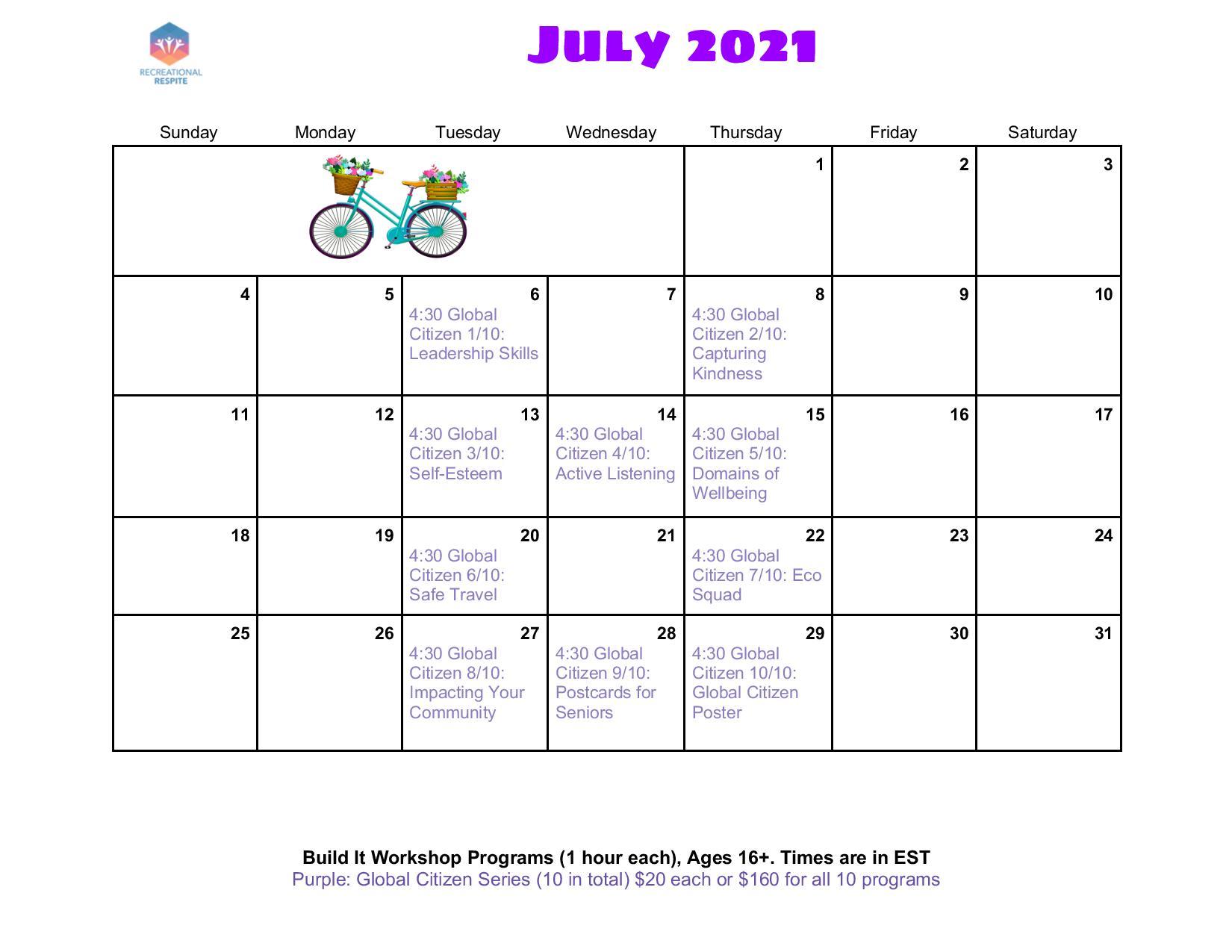 Build it Workshop calendar of programs